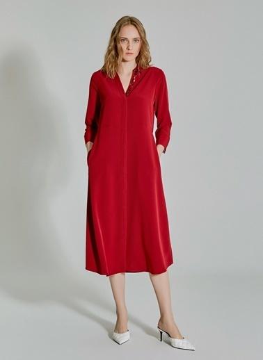 People By Fabrika Yaka Detaylı Kuşaklı Gömlek Elbise Bordo
